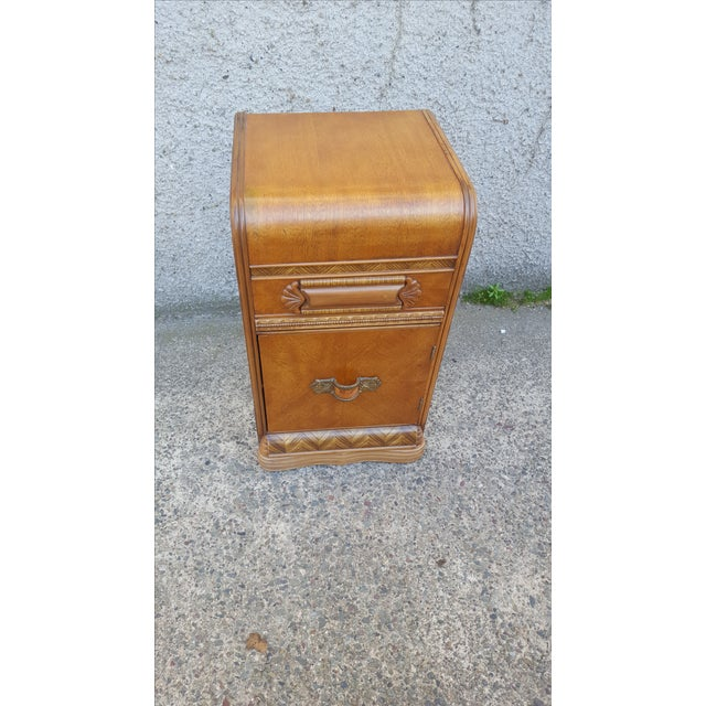 Image of Vintage Restored Art Deco Waterfall Nightstand