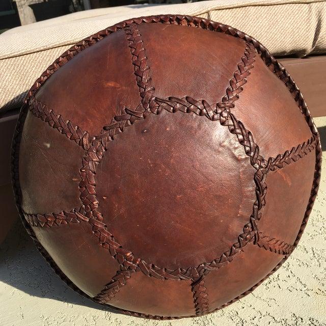 Vintage Bohemian Hand Stitched Leather Floor Pillow - Image 8 of 11