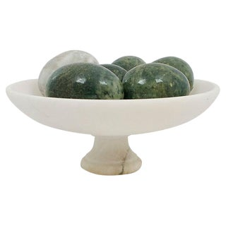 Italian Alabaster Bowl & Eggs, 7 Pcs
