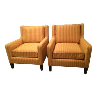 Crate & Barrel Striped Arm Chairs - A Pair