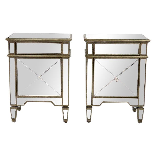 Silvered & Mirrored End Tables - A Pair - Image 1 of 3