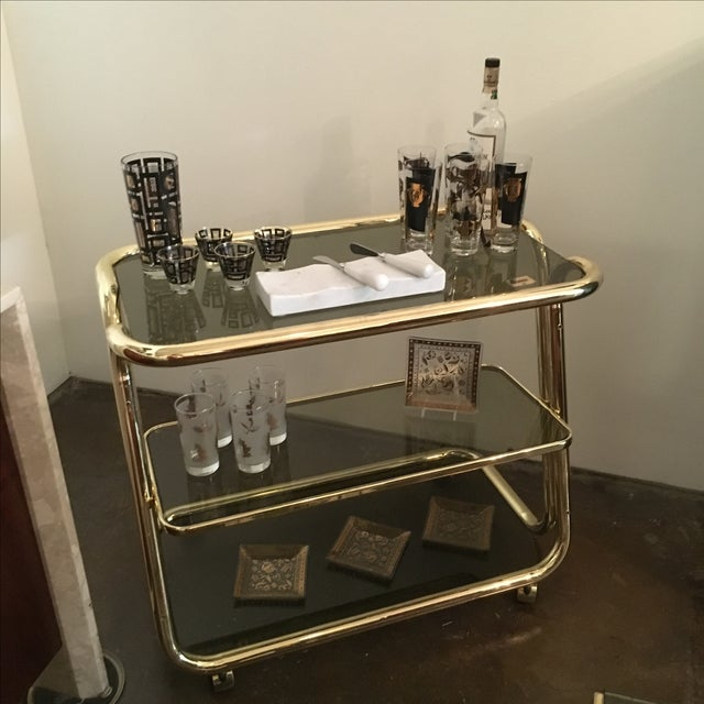 Morex Italian Modern Glam Brass and Smoked Glass Bar Cart, Trolley or Server - Image 7 of 9