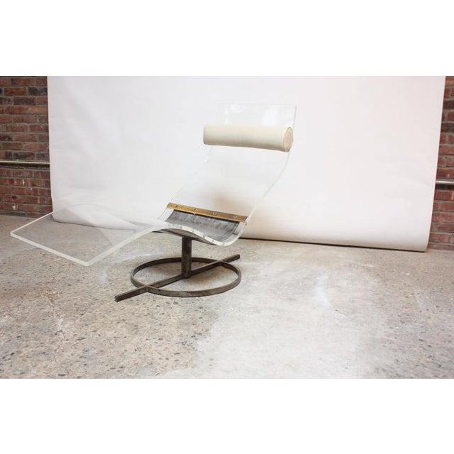 Image of Mid-Century French Lucite and Steel Chaise Longue Prototype