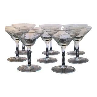 Vintage Etched Cocktail Glassware - Set of 8
