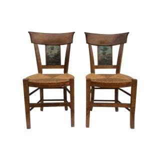 18th C. Country French Chairs with Scene - Pair
