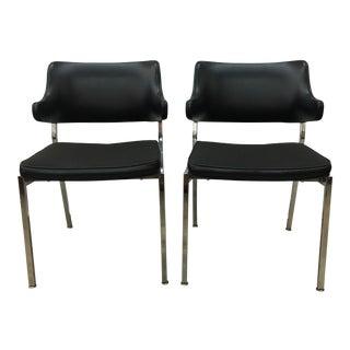 1970s Chrome & Black Vinyl Chairs - A Pair