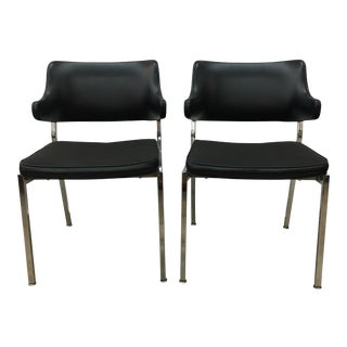 1970s Chrome & Black Vinyl Chairs - A Pair