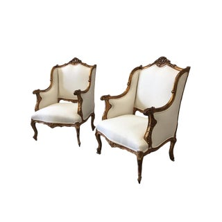 Louis XV Style Parcel Gilt Arm Chairs Bergeres - a Pair