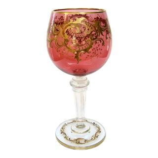 Antique Gold Encrusted Crystal Chalice Vase