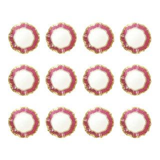 Set of 12 English Porcelain Dinner Plates With Vibrant Raspberry Border