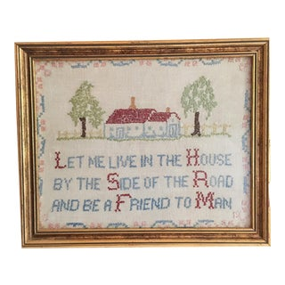 1920's Needlepoint Framed House Saying