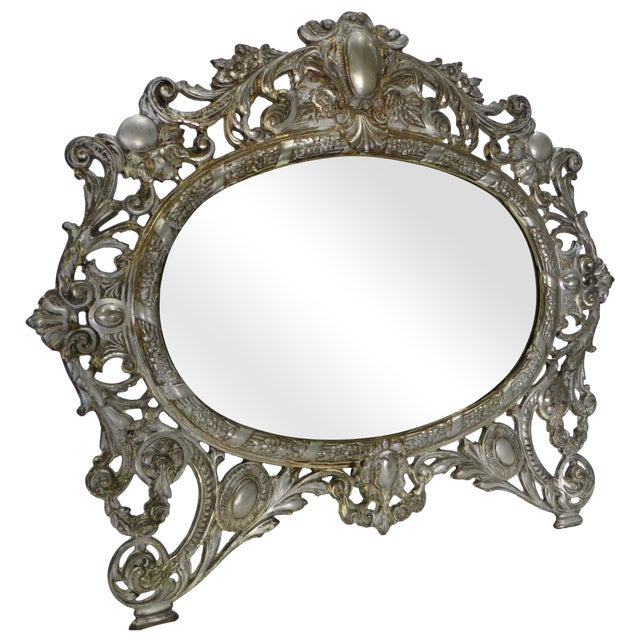 Antique silver gilded bradley hubbard mirror chairish for Bradley mirror