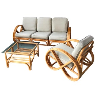 Pretzel Arm Rattan Bamboo Sofa - Set of 3