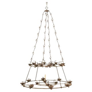 Circa 1890 French Hand-Forged Iron Twenty-Four-Light Two-Tier Chandelier