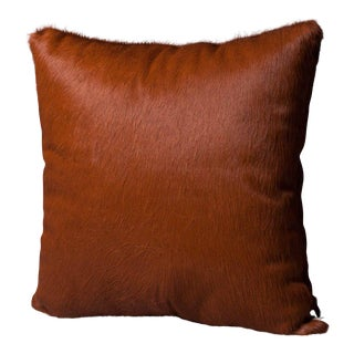 Tobacco Brown Hair on Hide Pillow