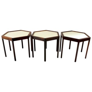 Hans Andersen Danish Modern Rosewood Hexagonal Side Tables - Set of 3