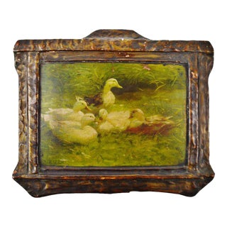 "A. Koester Antique ""Ducks on Pond"" Chromolithograph"