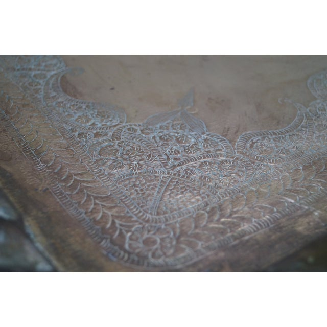 Image of Incised Brass Scalloped Tray Top Coffee Table