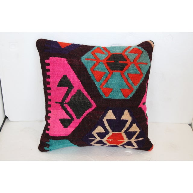 Neon Turkish Kilim Cushions - Pair - Image 5 of 7