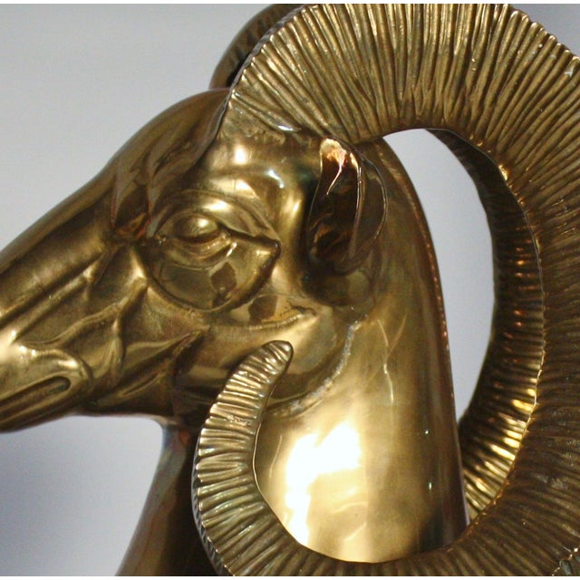 Brass Ram Bust On Marble Plinth - Image 5 of 5