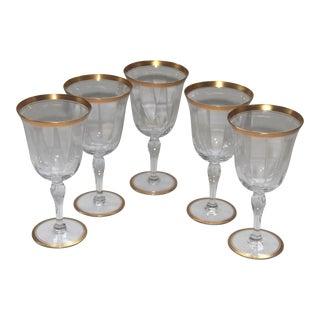 Gold Trimmed Crystal Wine Glasses - Set of 5