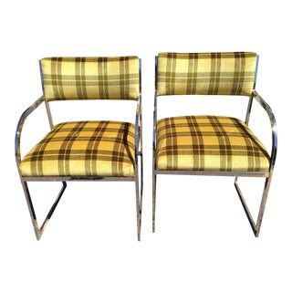 Lloyd's Chrome & Plaid Chairs - A Pair