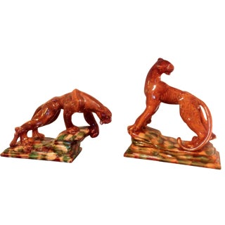 Mid Century Tiger And Tigress Statues