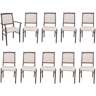 Set of Ten Skovby Rosewood Upholstered Dining Chairs