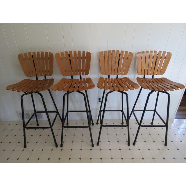 Arthur Umanoff Style Mid-Century Bar Stools - Set of 4 - Image 3 of 8