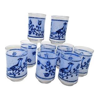 Vintage Blue Bird Glassware - Set of 7