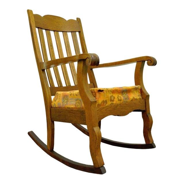 Antique Mission Arts & Crafts Carved Solid Oak Rocking Lounge Chair - Image 1 of 11