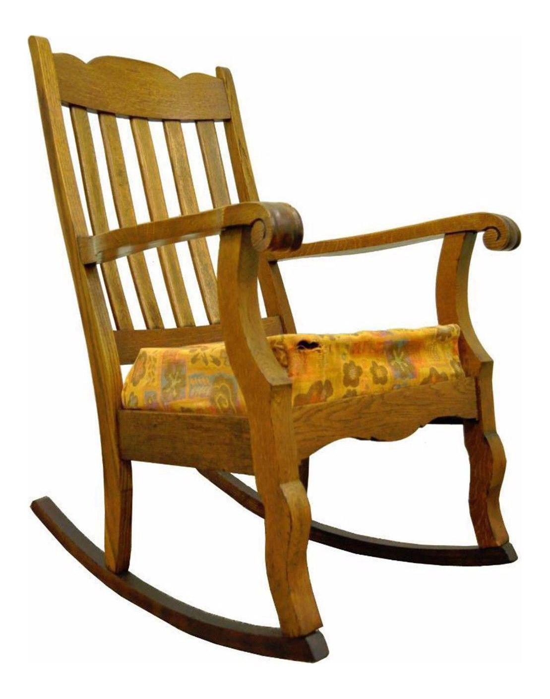 Antique Mission Arts U0026 Crafts Carved Solid Oak Rocking Lounge Chair