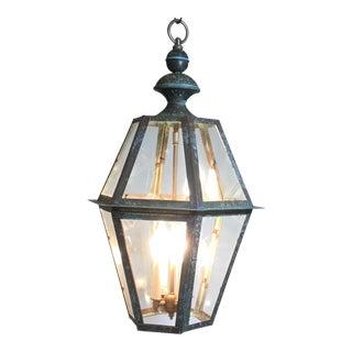 Hanging Patinated Copper Lantern