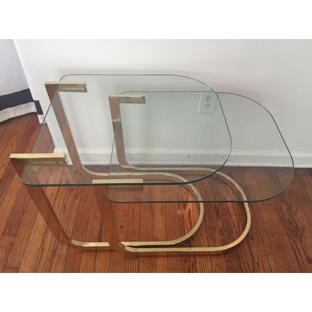 Milo Baughman Cantilevered Brass Nesting Tables - Image 6 of 10