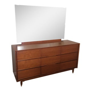 Benck Mid-Century Walnut 9 Drawer Dresser & Mirror