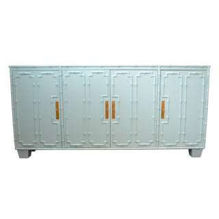 Faux Bamboo Light Blue Credenza