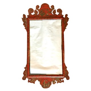 19th Century English Chinoiserie Red Lacquered Mirror