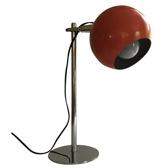 Orange Vintage Mid-Century Eyeball Lamp - Image 1 of 8