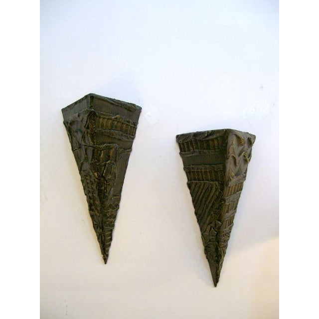 Pair of Paul Evans Brutal Wall Sculptures/Shelves - Image 2 of 5