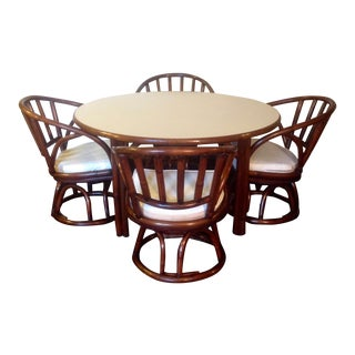 Mid Century Faux Bamboo Card Table Set- 5 Piece Set