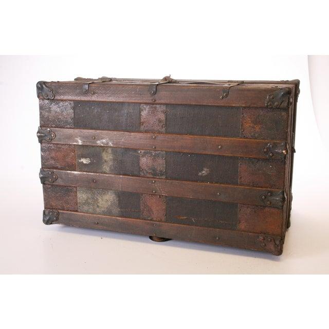Victorian Wood & Metal Flat Top Brown Steamer Trunk - Image 9 of 11
