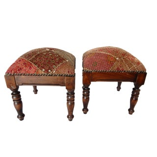 Square Indian Patchwork Stools - A Pair