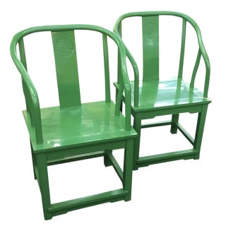 Chinese Horseshoe Chairs Lacquered Green - A Pair