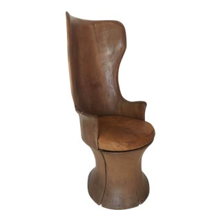 Organic Modern Graceful Mahogany Chair Carved from One Piece of Wood