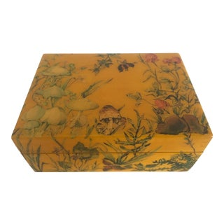 Vintage 1973 Handcrafted Decoupage Mushrooms & Insects Wood Box