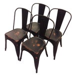 Image of Steel Black Tolix-Style Chairs - Set of 4