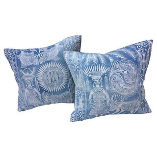 Faded Indigo Tribal Motif Pillows - A Pair