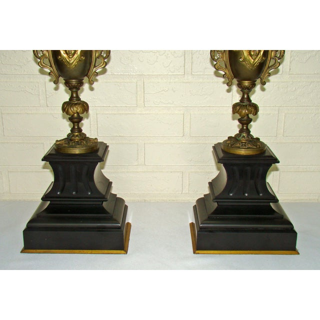 Huge Antique Victorian Neoclassical Bronze & Marble Candelabras - a Pair - Image 5 of 11