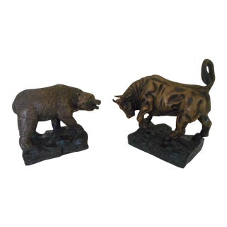 Stock Market Themed Bronze Bull & Bear Bookends- A Pair