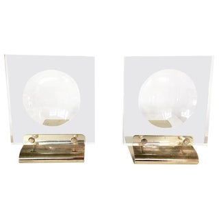 1970s Brass & Lucite Bookends - A Pair